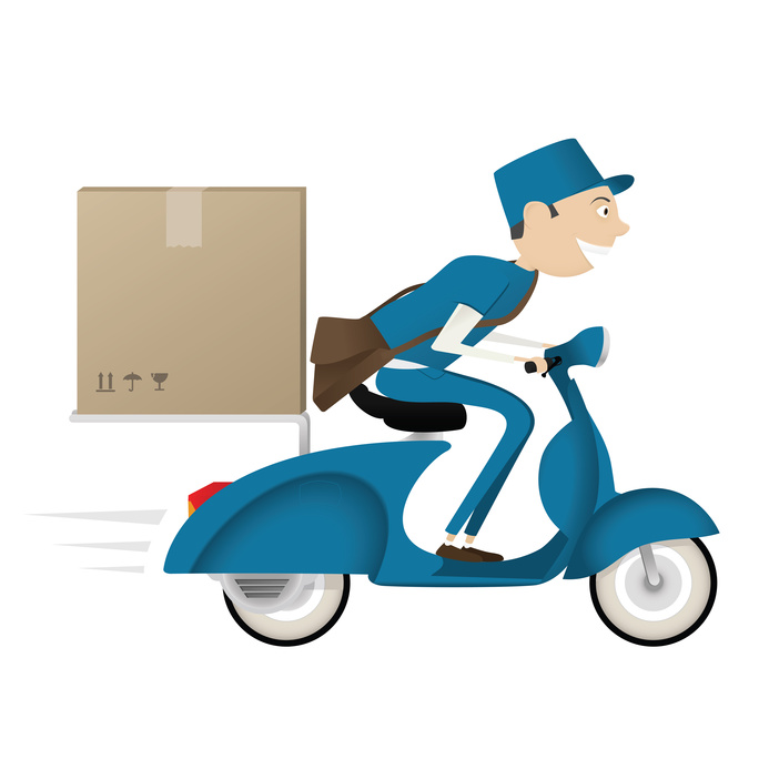 Funny postman delivering package on blue scooter